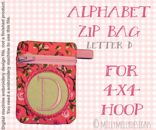 Letter D - Alphabet zipper pouch - In The Hoop - Machine Embroidery Design File, digital download millymellydesigns