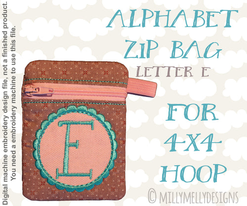 Letter E - Alphabet zipper pouch - In The Hoop - Machine Embroidery Design File, digital download millymellydesigns
