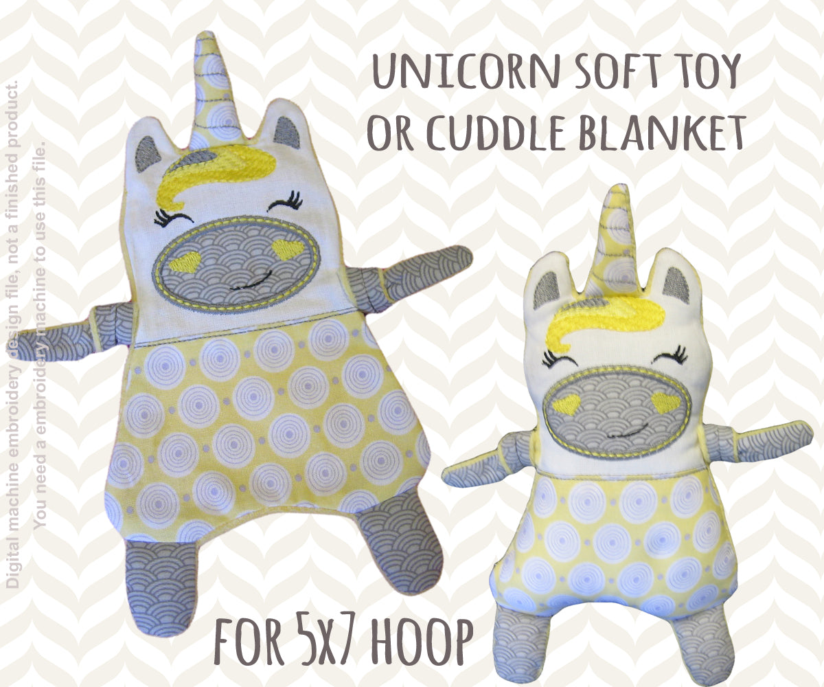 Unicorn 5x7 hoop - Baby Toy Blanket comfy - ITH - In The Hoop - Machine Embroidery Design File, digital download - millymellydesigns