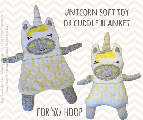 Unicorn 5x7 hoop - Baby Toy Blanket comfy - ITH - In The Hoop - Machine Embroidery Design File, digital download millymellydesigns