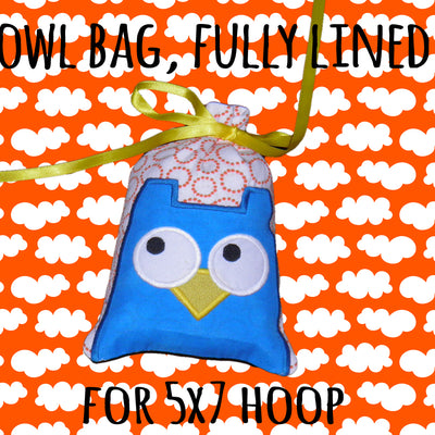 5x7 hoop - GIFT BAG - OWL - Machine Embroidery Design File, digital download millymellydesigns