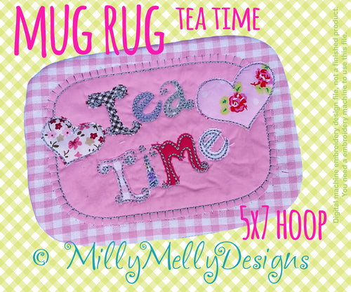 Tea mug rug - 5x7 hoop - In The Hoop - Machine Embroidery Design File, digital download millymellydesigns