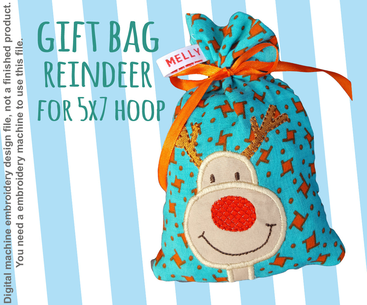 5x7 hoop - GIFT BAG - RUDOLPH - Machine Embroidery Design File, digital download - millymellydesigns