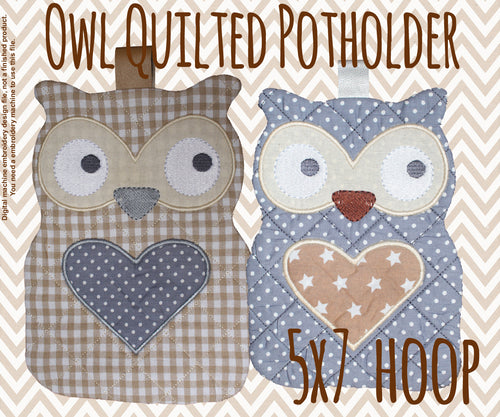 Quilted owl potholder - 5x7 hoop - In The Hoop - Machine Embroidery Design File, digital download millymellydesigns