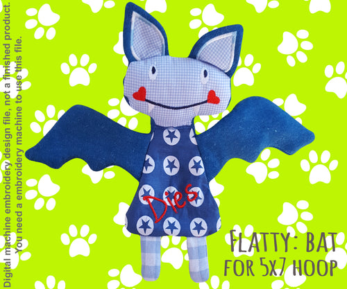 Cute BAT soft toy 5x7 hoop, Baby Toy Blanket comfy, stuffed toy, stofie, ITH, In The Hoop, Machine Embroidery Design File, digital download millymellydesigns