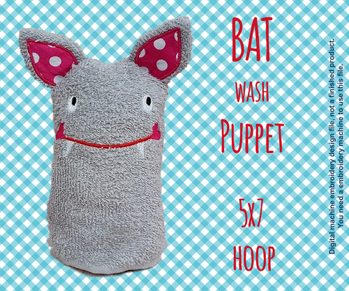 Wash Puppet - BAT - 5x7 hoop - ITH - In The Hoop - Machine Embroidery Design File, digital download millymellydesigns