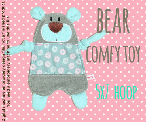 Cute bear 5x7 hoop - Baby Toy Blanket comfy - ITH - In The Hoop - Machine Embroidery Design File, digital download millymellydesigns