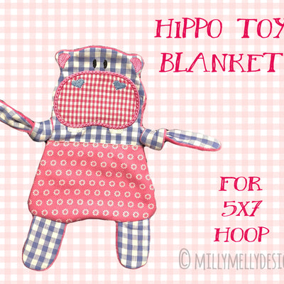 HIPPO soft toy, Baby Toy Blanket comfy, stuffed toy, stofie, ITH, In The Hoop, Machine Embroidery Design File, digital download millymellydesigns