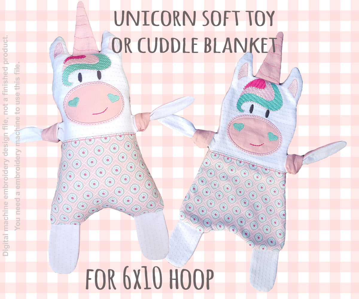 Unicorn 6x10 hoop - Baby Toy Blanket comfy - ITH - In The Hoop - Machine Embroidery Design File, digital download - millymellydesigns
