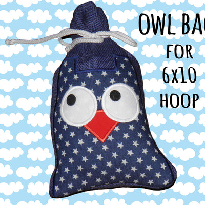 6x10 hoop - GIFT BAG - OWL - Machine Embroidery Design File, digital download millymellydesigns