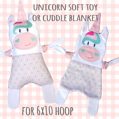 Unicorn SET of 4 sizes - Baby Toy Blanket comfy - ITH - In The Hoop - Machine Embroidery Design File, digital download millymellydesigns