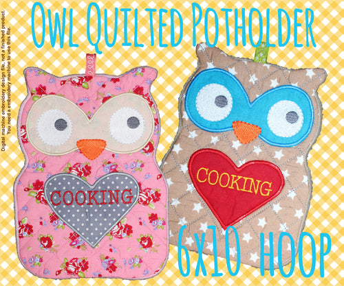 Quilted owl potholder - 6x10 hoop - In The Hoop - Machine Embroidery Design File, digital download millymellydesigns