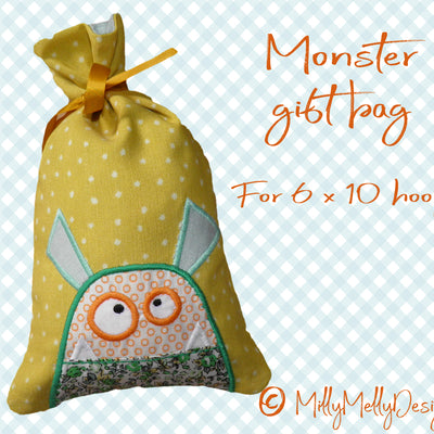 GIFT BAGS - Monster - Machine Embroidery Design File, digital download millymellydesigns