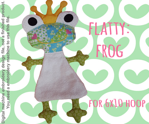 Cute FROG soft toy 6x10 hoop, ITH embroidery design, digital download millymellydesigns