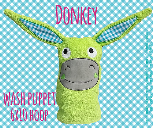 Wash Puppet - DONKEY - ITH - In The Hoop - Machine Embroidery Design File, digital download millymellydesigns