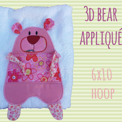 Cute Bear 3d applique design - in the hoop - Machine Embroidery Design File, digital download, ITH millymellydesigns