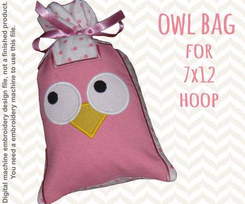 7x12 hoop - GIFT BAG - OWL - Machine Embroidery Design File, digital download millymellydesigns