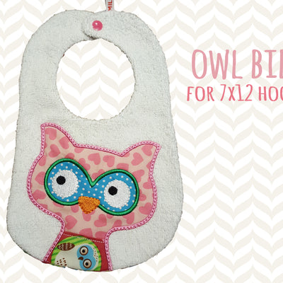 Owl bib design - ITH Machine Embroidery Design File, digital download, ITH millymellydesigns
