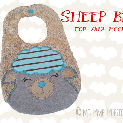 SHEEP bib design - ITH machine embroidery design millymellydesigns