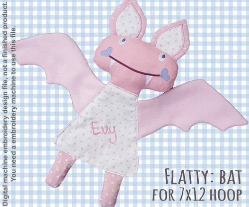 Cute BAT soft toy 7x12 hoop, Baby Toy Blanket comfy, stuffed toy, stofie, ITH, In The Hoop, Machine Embroidery Design File, digital download millymellydesigns