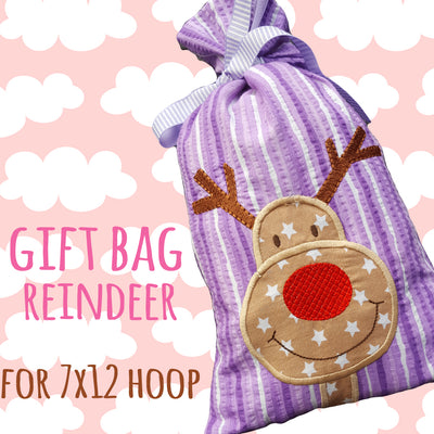 SET - GIFT BAGS - RUDOLPH - Machine Embroidery Design File, digital download millymellydesigns