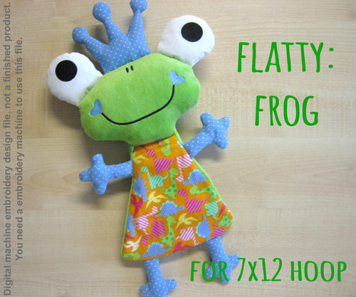 Cute FROG soft toy 7x12 hoop, ITH embroidery design, digital download millymellydesigns