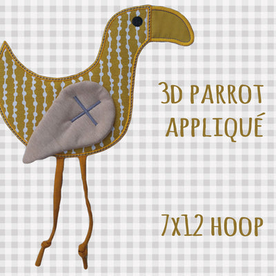 Parrot matching appliqué design - Applique - Machine Embroidery Design File, digital download, ITH millymellydesigns