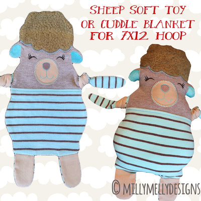 SHEEP soft toy, Baby Toy Blanket comfy, stuffed toy, stofie, ITH, In The Hoop, Machine Embroidery Design File, digital download millymellydesigns
