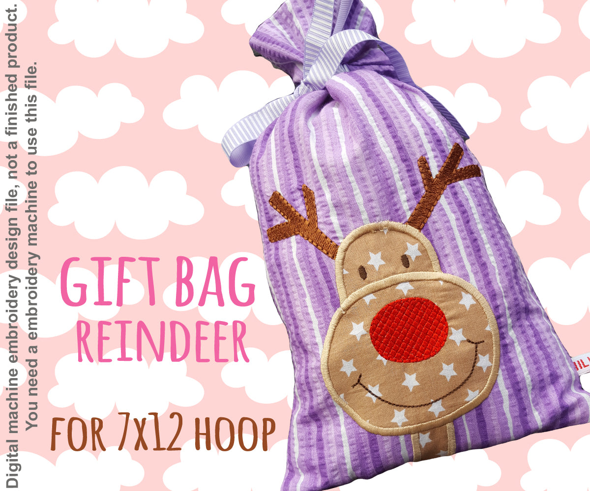 7x12 hoop - GIFT BAG - RUDOLPH - Machine Embroidery Design File, digital download millymellydesigns