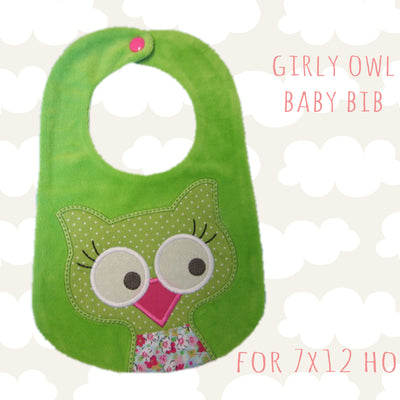 Girly owl bib design - in the hoop - Machine Embroidery Design File, digital download, ITH millymellydesigns