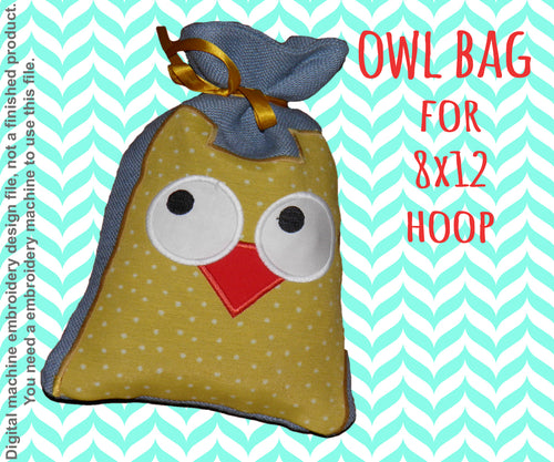 8x12 hoop - GIFT BAG - OWL - Machine Embroidery Design File, digital download millymellydesigns