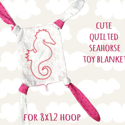 Seahorse toy blanket - In The Hoop - Machine Embroidery Design File, digital download millymellydesigns