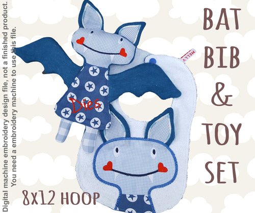 BAT matching set 2 -  Machine Embroidery Design Files, digital download millymellydesigns