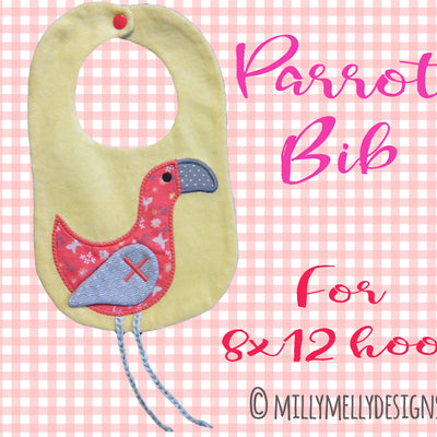 Parrot bib design - ITH machine embroidery design millymellydesigns