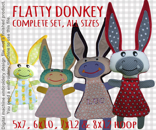 Cute DONKEY set soft toy all hoop sizes, Baby Toy Blanket comfy, toy, stofie, ITH  Machine Embroidery Design File, digital download millymellydesigns