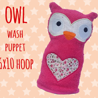 Wash Puppet - OWL - 6x10 hoop- ITH - In The Hoop - Machine Embroidery Design File, digital download millymellydesigns