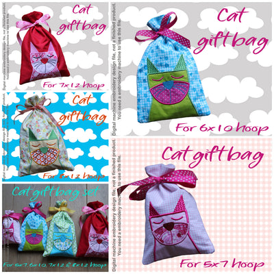 GIFT BAGS - CAT - Machine Embroidery Design File, digital download millymellydesigns