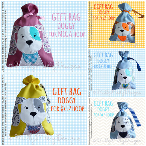 GIFT BAGS - DOGGY - Machine Embroidery Design File, digital download millymellydesigns