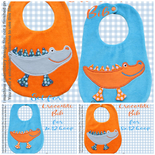 CROCODILE bib design - ITH machine embroidery design millymellydesigns