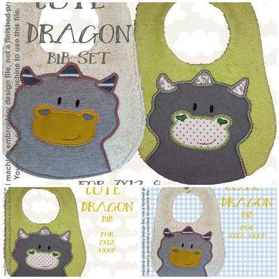 CUTE DRAGON bib design - ITH machine embroidery design millymellydesigns