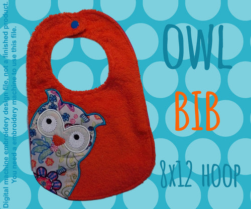 8x12 hoop - BIB - owl - Machine Embroidery Design File, digital download millymellydesigns