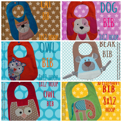 6 different bib designs (set 1) by MillyMellyDesigns, digital download, ITH machine embroidery millymellydesigns