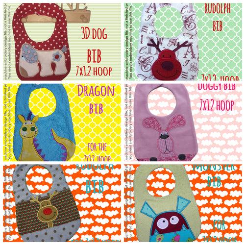 6 different bib designs (set 2) by MillyMellyDesigns, digital download, ITH machine embroidery millymellydesigns