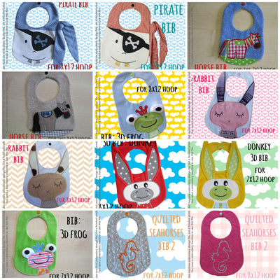 6 different bib designs (set 3) by MillyMellyDesigns, digital download, ITH machine embroidery millymellydesigns