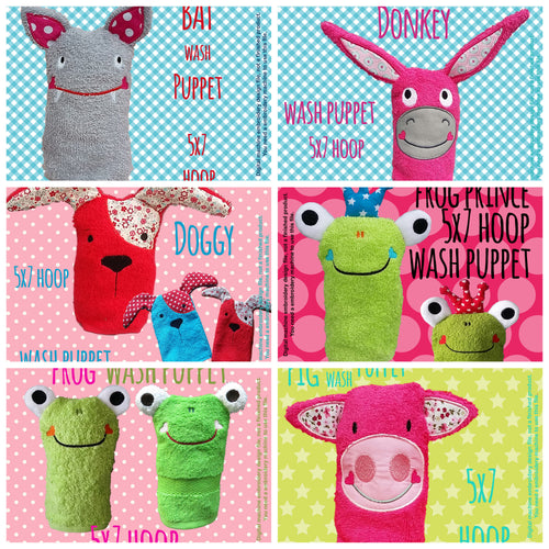 6 different wash puppet designs (set 1) by MillyMellyDesigns, digital download, ITH machine embroidery millymellydesigns
