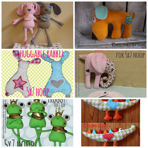 6 different Soft Toy designs (set 1) by MillyMellyDesigns, digital download, ITH machine embroidery millymellydesigns