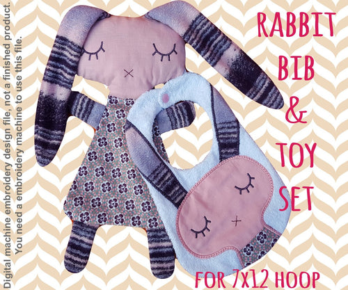Rabbit matching set! Machine Embroidery Design Files, digital download millymellydesigns