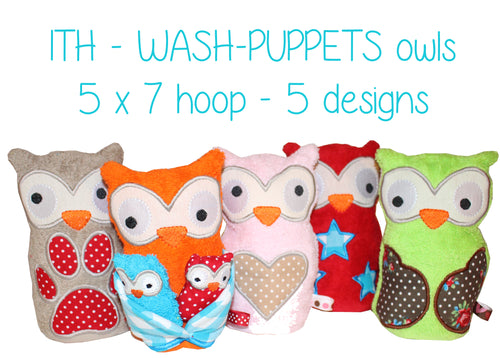 5x7 hoop - Wash Puppet - SET - owls - ITH - In The Hoop - Machine Embroidery Design File, digital download millymellydesigns