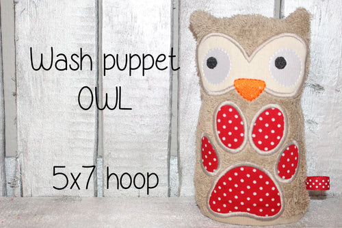 OWL Wash Puppet - 5x7 hoop - ITH - machine embroidery file - digital download millymellydesigns