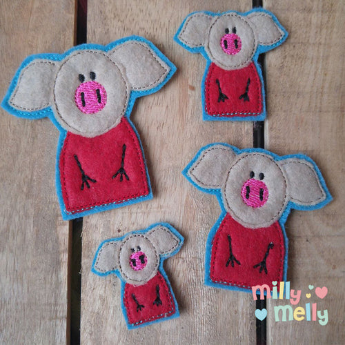 Piggy - Double feltie - Machine Embroidery Design File, digital download millymellydesigns